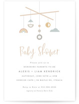This is a beige baby shower invitation by Hooray Creative called Modern Mobile with standard printing on signature in standard.