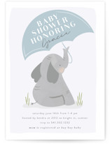 This is a blue baby shower invitation by Angela Garrick called blushing elephant with standard printing on signature in standard.