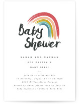 This is a red baby shower invitation by Kanika Mathur called Rainbow Hope with standard printing on signature in standard.