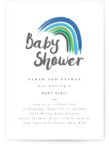 This is a blue baby shower invitation by Kanika Mathur called Rainbow Hope with standard printing on signature in standard.