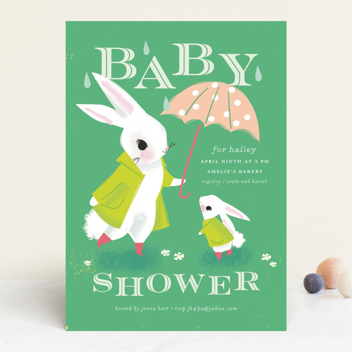 """Bunny Shower"" - Whimsical & Funny Baby Shower Invitations in Lime by Lori Wemple."