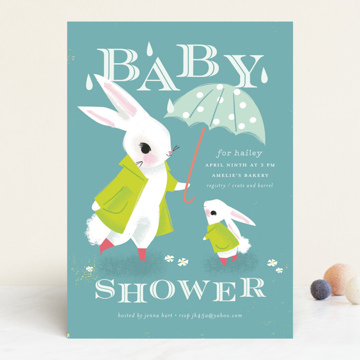 """""""Bunny Shower"""" - Whimsical & Funny Baby Shower Invitations in Lime by Lori Wemple."""