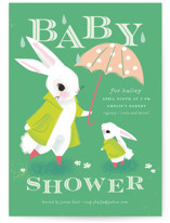This is a green baby shower invitation by Lori Wemple called Bunny Shower with standard printing on signature in standard.