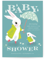 This is a blue baby shower invitation by Lori Wemple called Bunny Shower with standard printing on signature in standard.