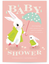 This is a pink baby shower invitation by Lori Wemple called Bunny Shower with standard printing on signature in standard.