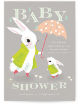 This is a grey baby shower invitation by Lori Wemple called Bunny Shower with standard printing on signature in standard.