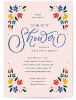 This is a blue baby shower invitation by Kristen Smith called Wildflower Blooms with standard printing on signature in standard.