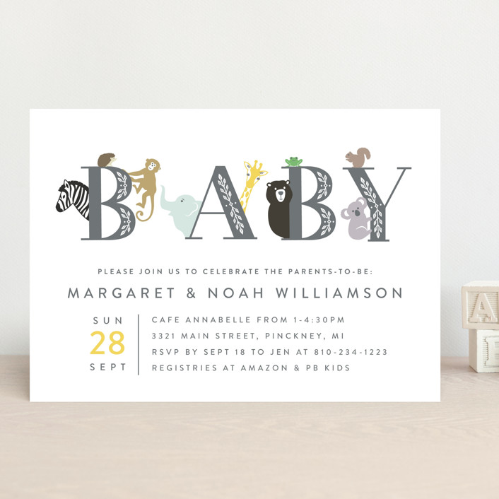 """Animal Baby"" - Whimsical & Funny Baby Shower Invitations in Charcoal by Basil Design Studio."