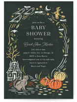 This is a black baby shower invitation by Morgan Ramberg called Spooky Frame with standard printing on signature in standard.