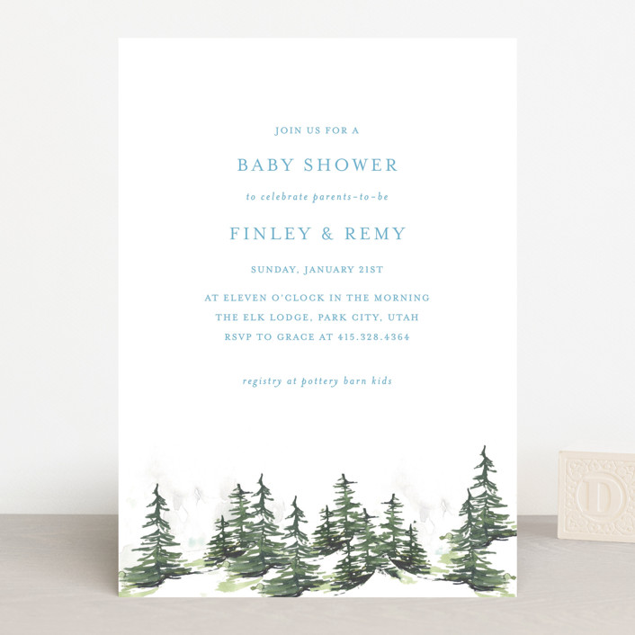"""""""On the Slopes"""" - Whimsical & Funny Baby Shower Invitations in Fog by Mere Paper."""