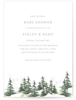 This is a grey baby shower invitation by Mere Paper called On the Slopes with standard printing on signature in standard.