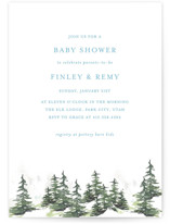 This is a blue baby shower invitation by Mere Paper called On the Slopes with standard printing on recycled in standard.
