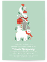 This is a green baby shower invitation by Jennifer Wick called Stacked arctic animals with standard printing on signature in standard.