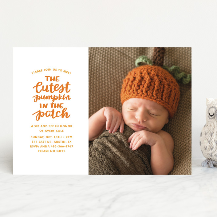 """Cutest Pumpkin"" - Funny Baby Shower Invitations in Pumpkin by Little Print Design."