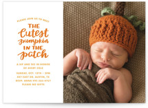 This is a orange baby shower invitation by Little Print Design called Cutest Pumpkin with standard printing on signature in standard.