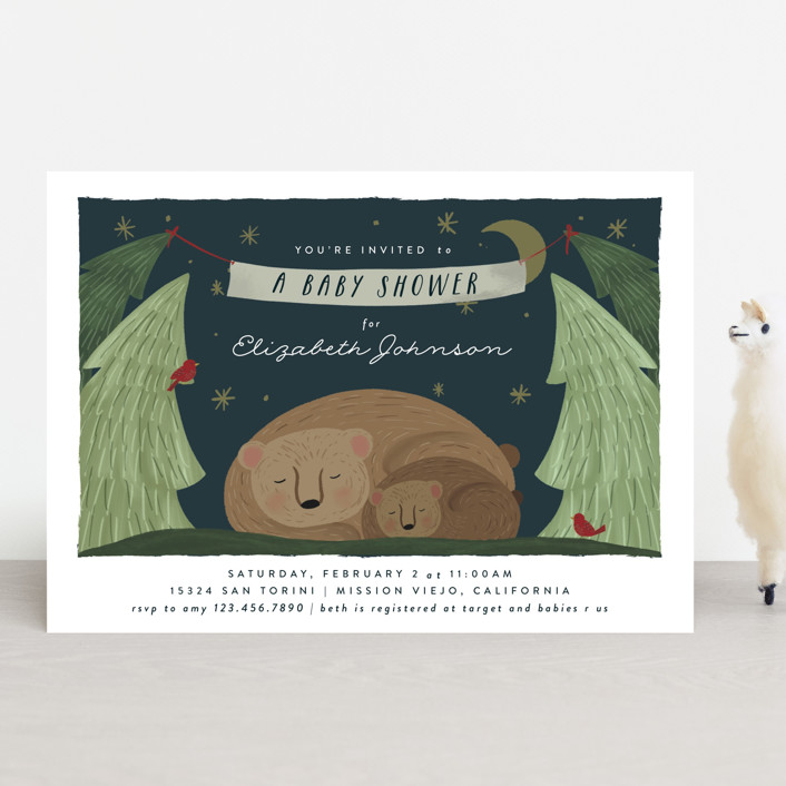 """Mama Bear"" - Whimsical & Funny Baby Shower Invitations in Nightfall by Joanna Griffin."