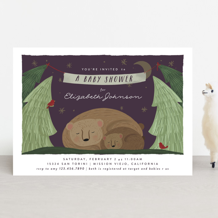"""""""Mama Bear"""" - Whimsical & Funny Baby Shower Invitations in Nightfall by Joanna Griffin."""
