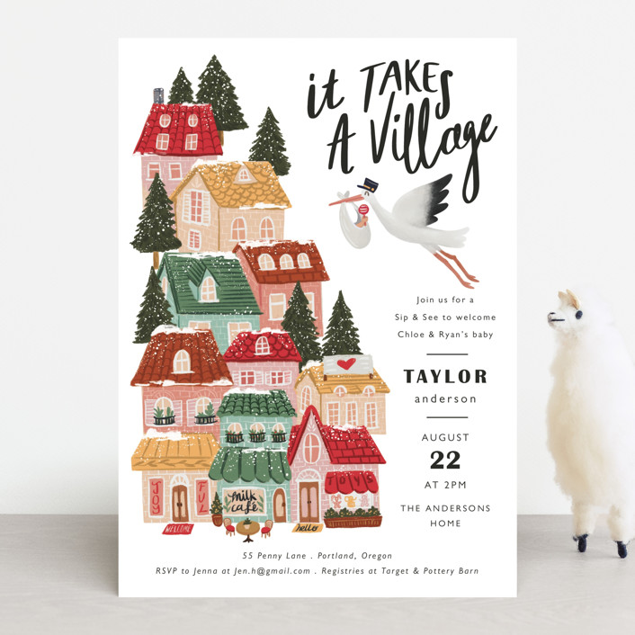 """It Takes A Village"" - Whimsical & Funny Baby Shower Invitations in Rouge by Elly."
