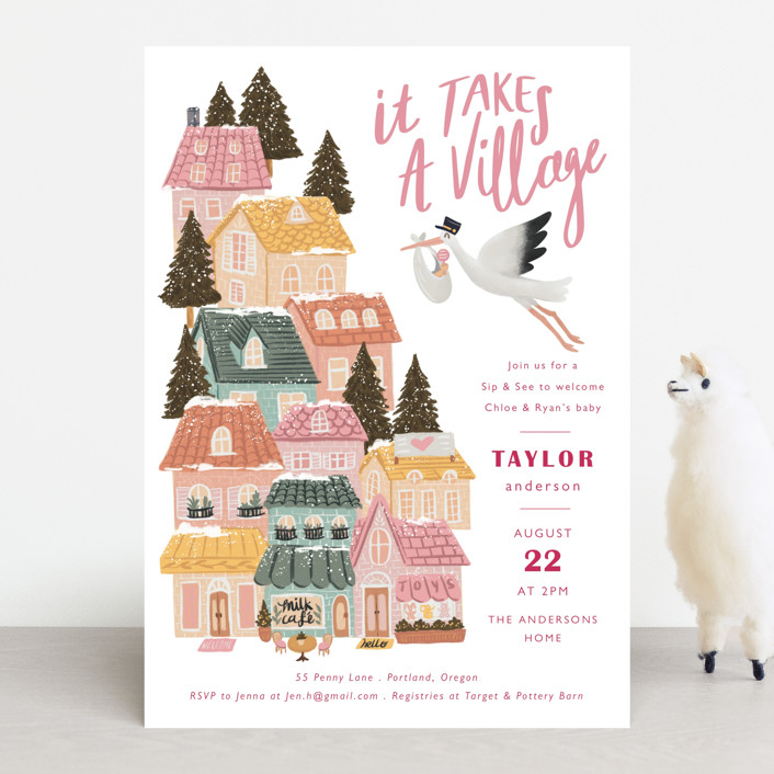 """""""It Takes A Village"""" - Whimsical & Funny Baby Shower Invitations in Rouge by Elly."""
