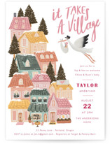 This is a pink baby shower invitation by Elly called It Takes A Village with standard printing on signature in standard.