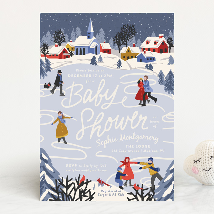"""""""Winter Skate"""" - Whimsical & Funny Baby Shower Invitations in Primary by Meggy Masters."""