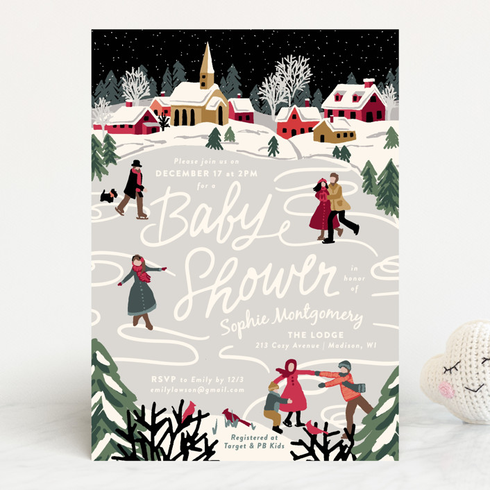 """""""Winter Skate"""" - Whimsical & Funny Baby Shower Invitations in Midnight by Meggy Masters."""