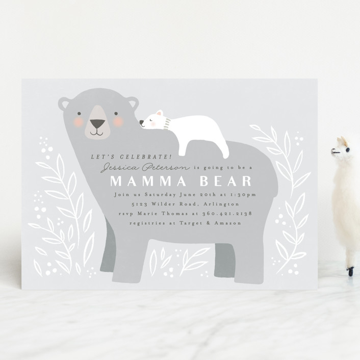 """Mama Bear"" - Whimsical & Funny Baby Shower Invitations in Lake by Karidy Walker."