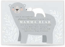 This is a grey baby shower invitation by Karidy Walker called Mama Bear with standard printing on signature in standard.