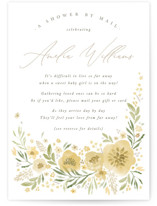 This is a yellow baby shower invitation by Robert and Stella called Flowers by Mail with standard printing on signature in standard.