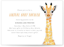 This is a colorful baby shower invitation by Cass Loh called Virtual Baby Animal Giraffe with standard printing on signature in standard.