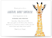 This is a blue baby shower invitation by Cass Loh called Virtual Baby Animal Giraffe with standard printing on signature in standard.
