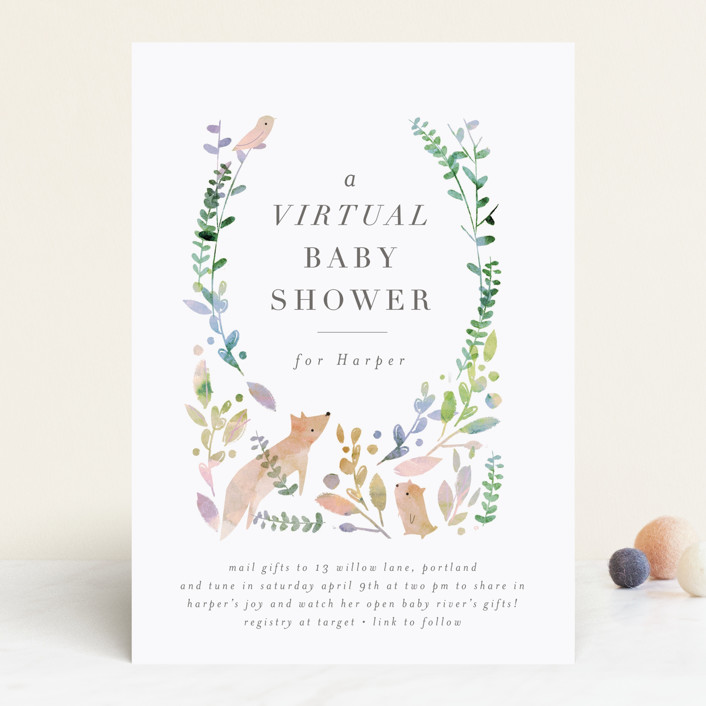 """Virtual Woodland"" - Whimsical & Funny Baby Shower Invitations in Forest by Lori Wemple."