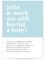 This is a blue baby shower invitation by Roxy Cervantes called Modern Block with standard printing on signature in standard.