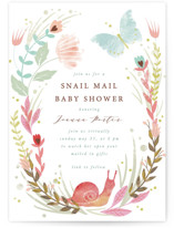 This is a pink baby shower invitation by Hannah Williams called Snail Mail with standard printing on signature in standard.