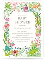 This is a green baby shower invitation by Morgan Ramberg called Baby Dinos with standard printing on signature in standard.
