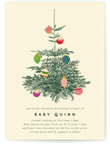 This is a green baby shower invitation by Baumbirdy called retro tree with standard printing on signature in standard.