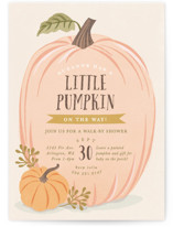 This is a orange baby shower invitation by Karidy Walker called Autumn Pumpkin with standard printing on signature in standard.