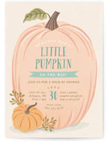 This is a green baby shower invitation by Karidy Walker called Autumn Pumpkin with standard printing on signature in standard.