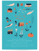 This is a blue baby shower invitation by Eve Schultz called Fall Harvest with standard printing on signature in standard.