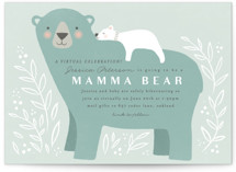 This is a blue baby shower invitation by Karidy Walker called Mama Bear with standard printing on signature in standard.