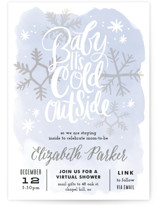 This is a blue baby shower invitation by Alethea and Ruth called Baby It's Cold Outside with standard printing on signature in standard.