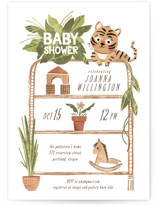 This is a green baby shower invitation by Vivian Yiwing called Baby Tiger with standard printing on signature in standard.