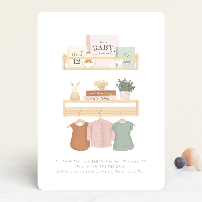 """""""Baby Girl Shelves"""" - Whimsical & Funny Baby Shower Invitations in Tropical by Itsy Belle Studio."""