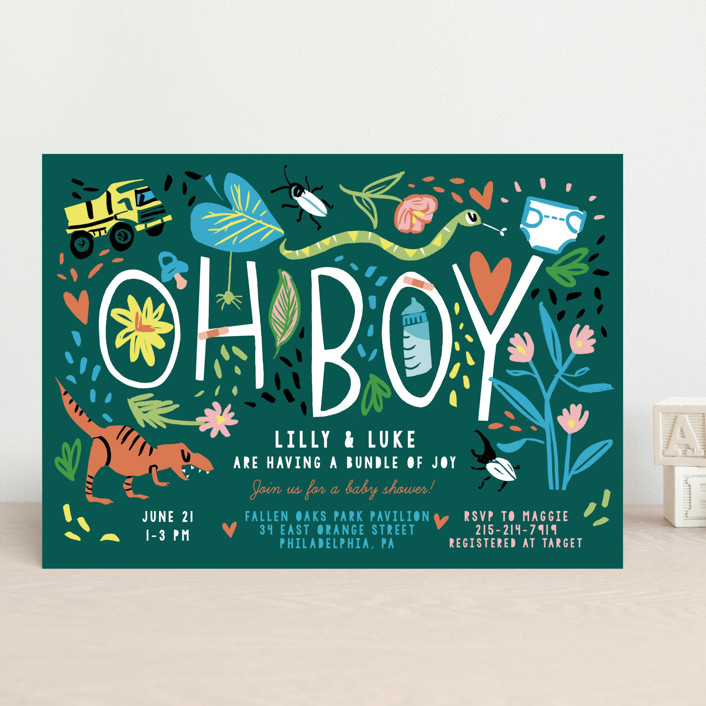 """""""Oh Boy!"""" - Whimsical & Funny Baby Shower Invitations in Emerald by Michelle Shanaman."""