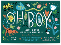 This is a green baby shower invitation by Michelle Shanaman called Oh Boy! with standard printing on signature in standard.