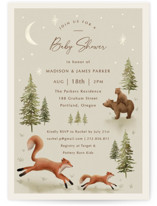 This is a green baby shower invitation by Elly called Forest Adventure with standard printing on signature in standard.