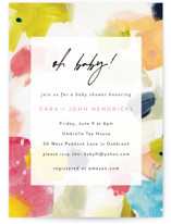 This is a pink baby shower invitation by Lindsay Megahed called Dappled Dots with standard printing on signature in standard.