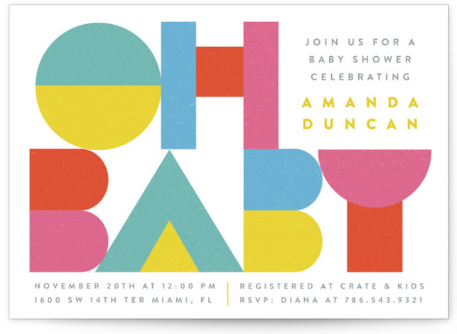 Baby Color Block Baby Shower Invitations