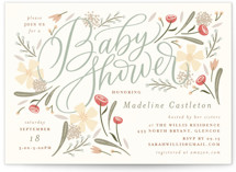 This is a blue baby shower invitation by Erin German called Happy Florals with standard printing on signature in standard.