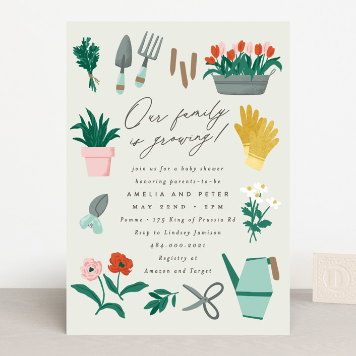 """""""Growing Garden"""" - Baby Shower Invitations in Mint by Everett Paper Goods."""